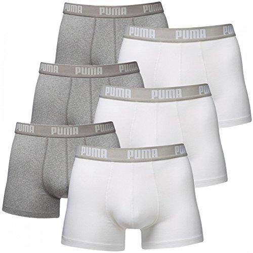 Puma Basic calzoncillos bóxer ropa interior para hombre (paquete de 6 unidades) - XL, Blanco Gris Melange