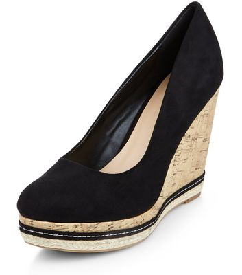Black Suedette Contrast Cork Wedges
