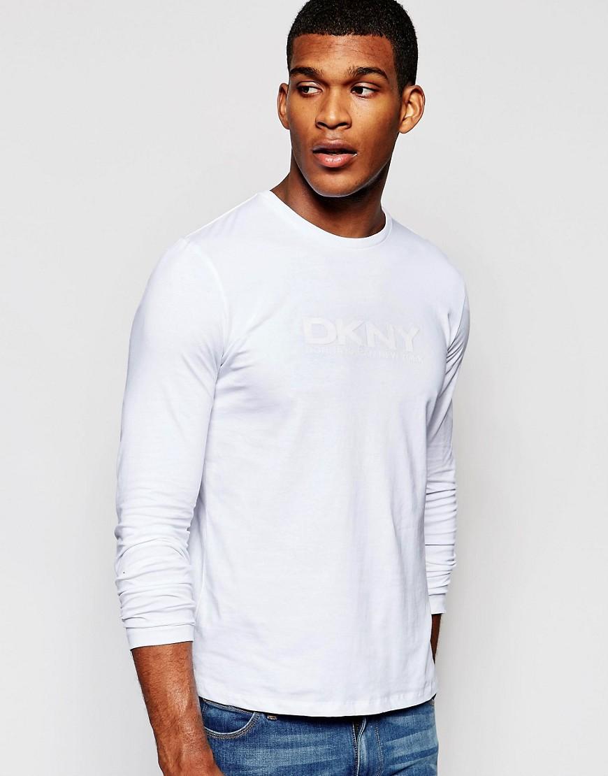 Camiseta de manga larga con estampado de goma de DKNY