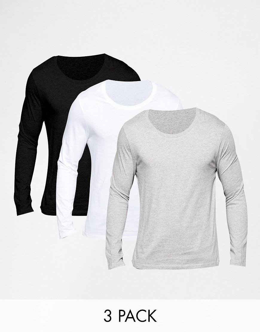 Pack de 3 camisetas de manga larga con cuello redondo, AHORRA un 21%