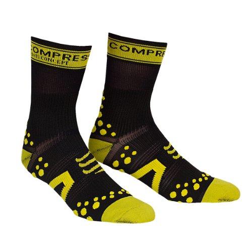 Compressport - Calcetines, talla S (Talla del fabricante : T1), color negro / amarillo