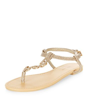 Gold Glitter Plaited T-Bar Strap Sandals