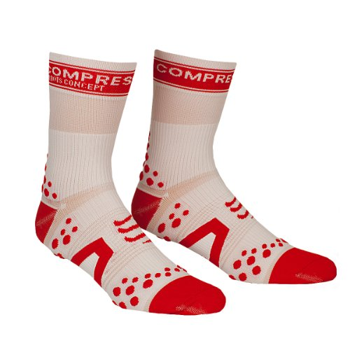 Compressport - Calcetines, talla L (Talla del fabricante : T3), color blanco / rojo