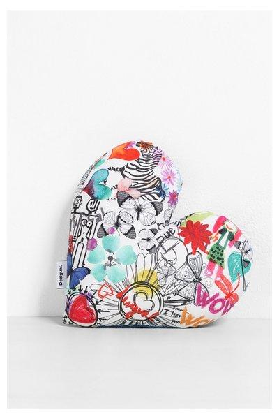 Desigual - Mujer - Cojín pequeño en forma de corazón - Heart Mini Cushion - Size U