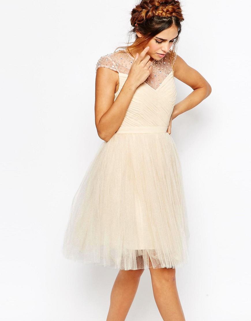 Vestido skater con falda plisada de tul y canesú fruncido de Little Mistress