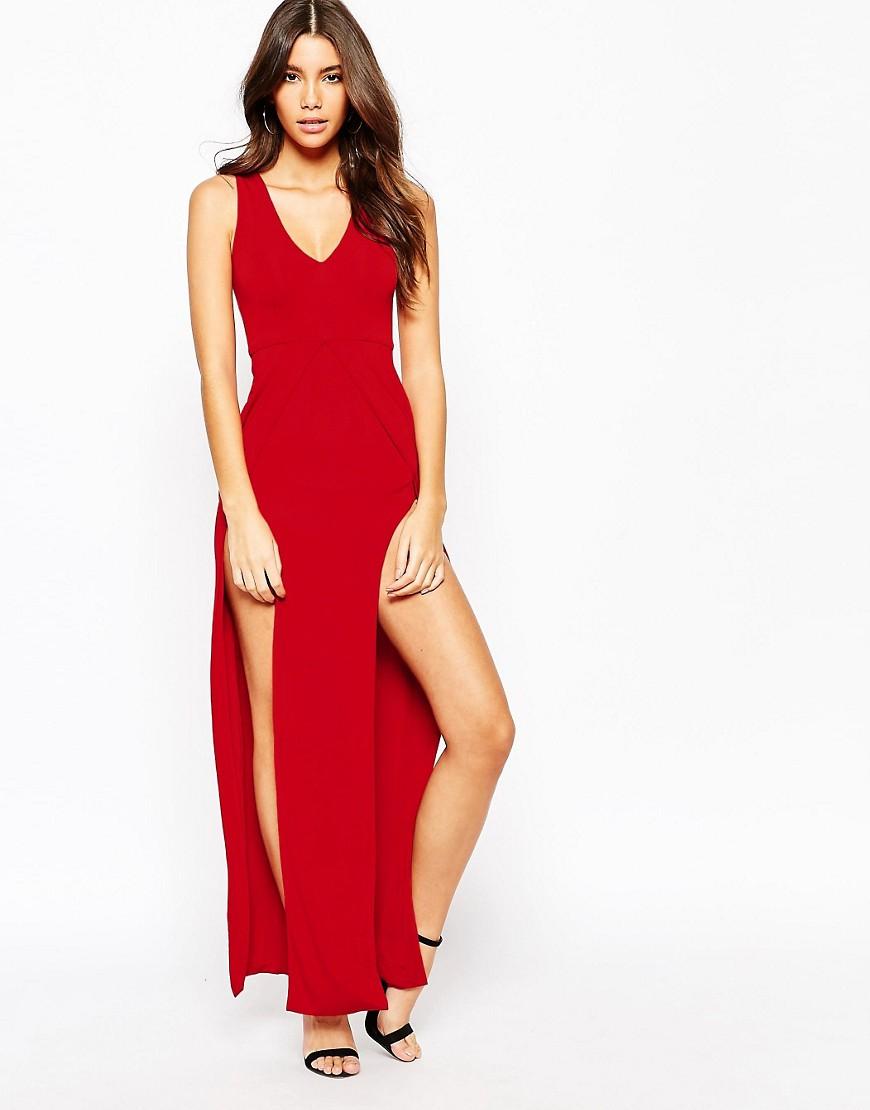Vestido sexy largo con escote pronunciado y dos aberturas en el muslo de NaaNaa