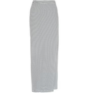 White Ribbed Stripe Wrap Front Maxi Skirt
