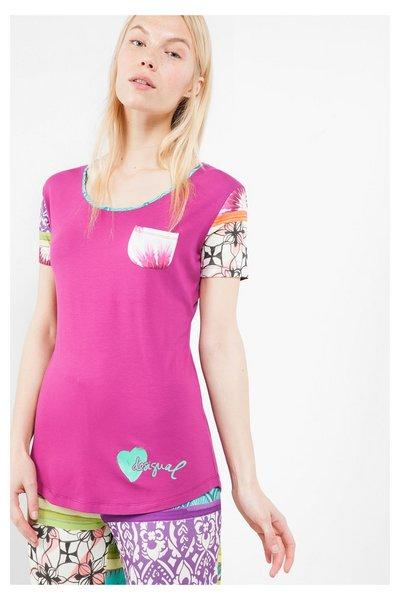 Desigual - Mujer - Camiseta de pijama de manga corta - Ss Plain Botanical Dream - Size L/XL