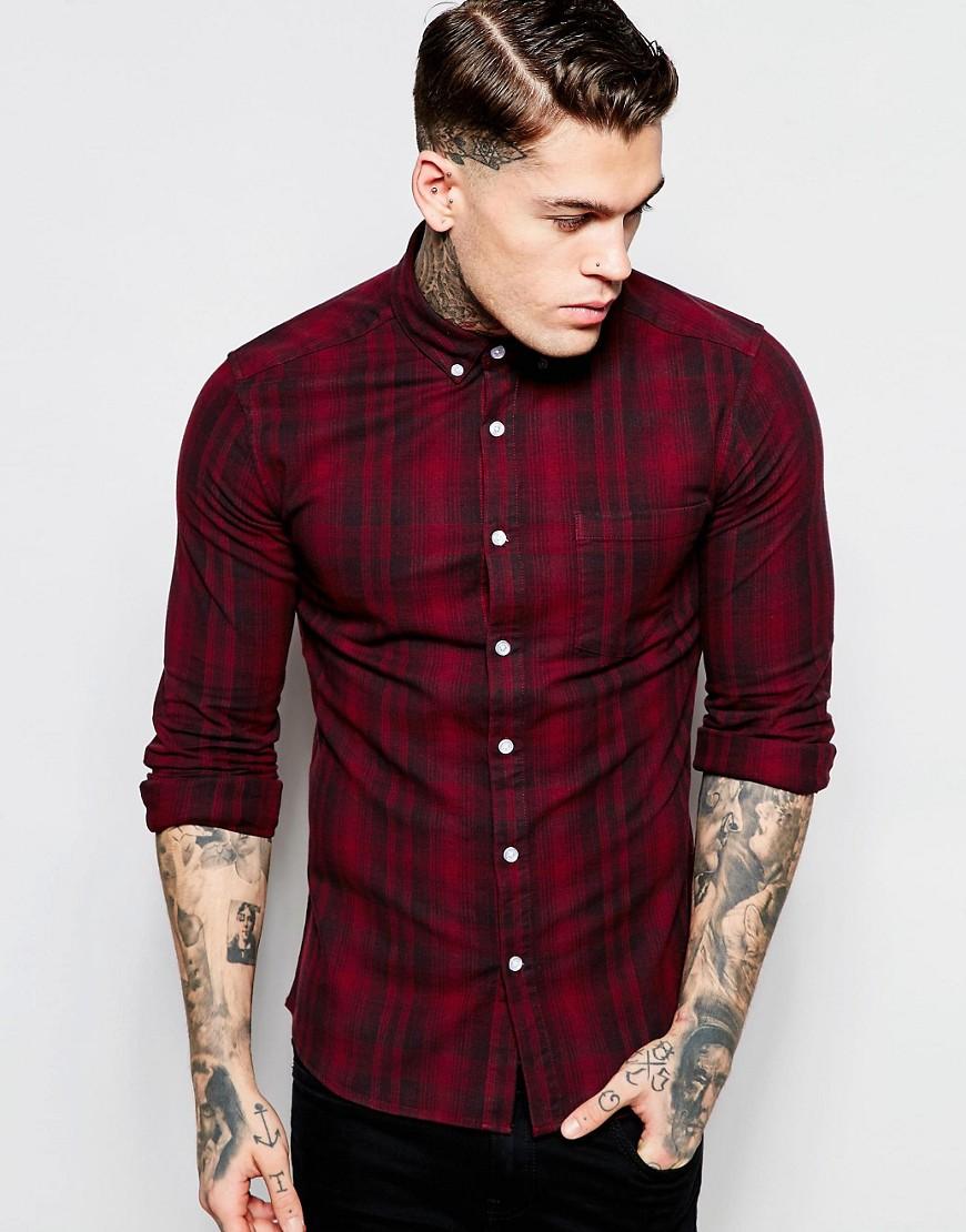 Camisa entallada de manga larga a cuadros descoloridos de ASOS