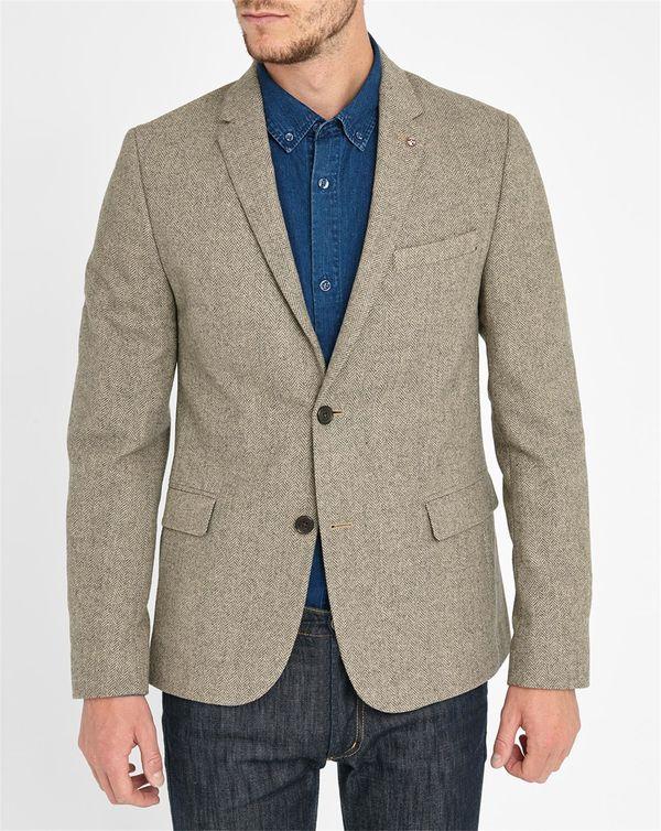 BEN SHERMAN, Beige 2-Button Woollen Chevron Jacket
