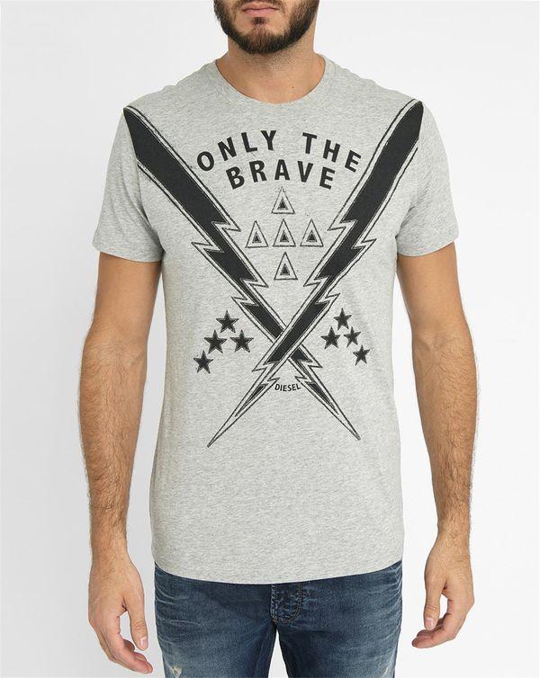DIESEL, Light-Grey T-Aubin-Add Print Round-Neck T-Shirt