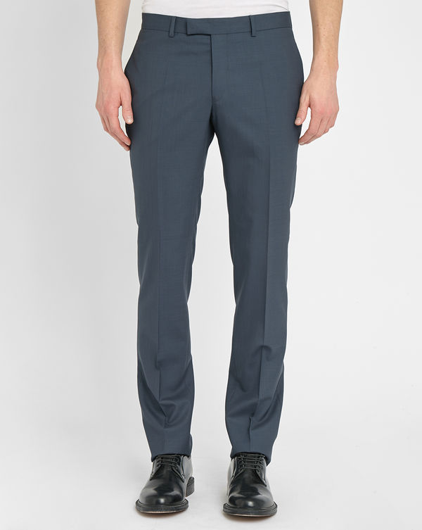 SANDRO, Grey-Blue Notch Sky Suit Trousers in Wool
