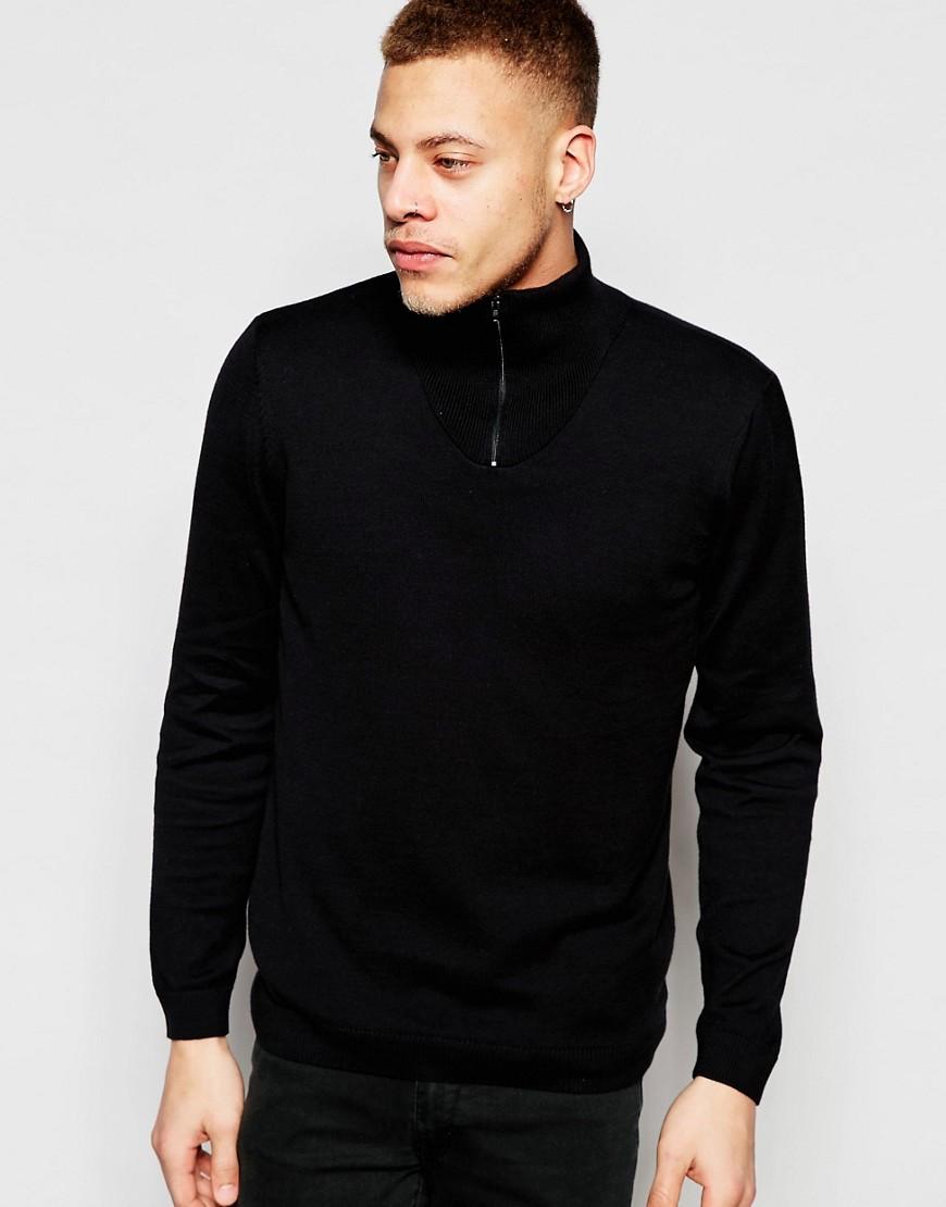 Jersey negro con cuello vuelto y cremallera de ASOS