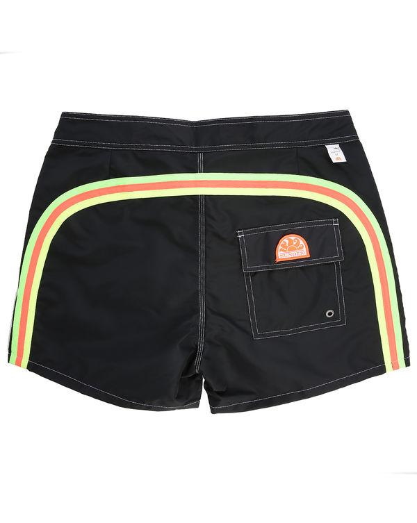 SUNDEK, Black with Fluoro Stripes Swim Shorts