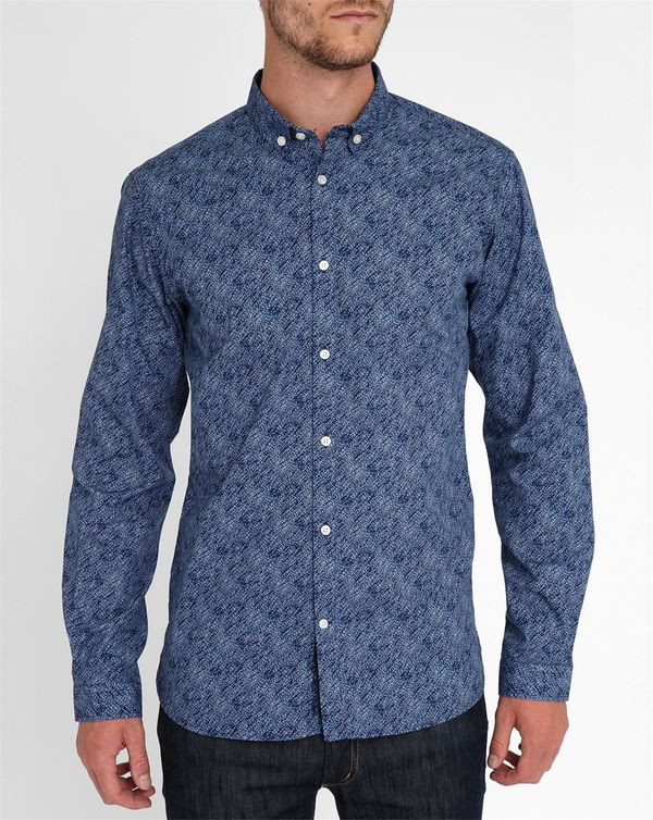 KNOWLEDGE COTTON APPAREL, Navy Polkadot Shirt
