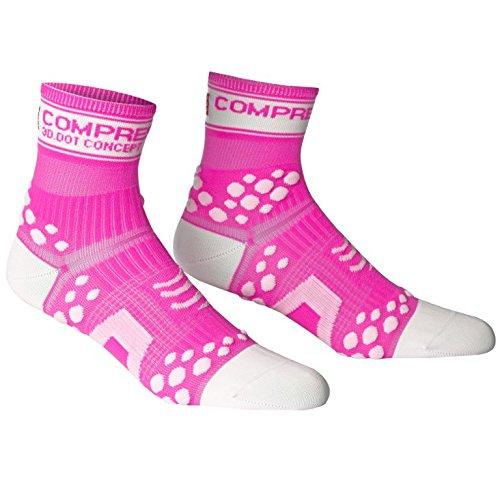 Compressport Run Fluo - Calcetín de running unisex, color rosa, talla 1