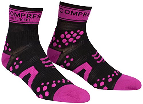 Compressport Pro Racing V2 Run Hi - Calcetines para hombre, color negro / rosa, talla M
