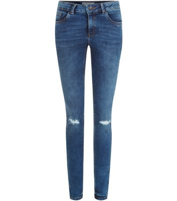 Blue Ripped Knee Skinny Jeans