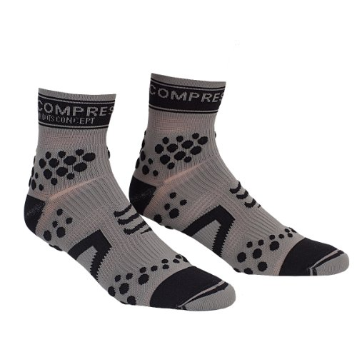 Compressport Pro Racing V2 Trail Hi - Calcetines para mujer, color negro / gris, talla S