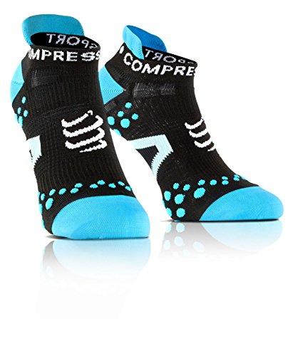 Compressport Run Lo - Calcetín de running unisex, color negro / azul, talla 4