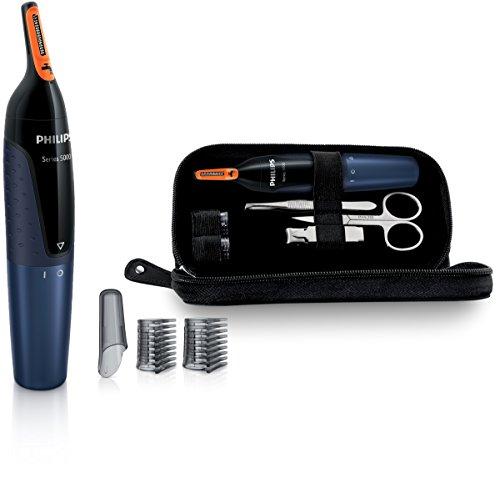 Philips NT5180/15 - Recortador de vello, nariz y orejas, resistente al agua, 2 peines-guía para cejas, incluye funda de viaje y set de manicura