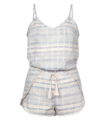Blue Stripe Pom Pom Trim Playsuit