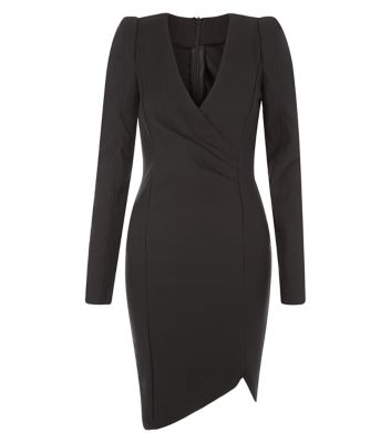 AX Paris Black Long Sleeve Wrap Front Dress