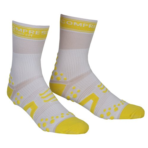 Compressport - Calcetines, talla S (Talla del fabricante : T1), color blanco / amarillo