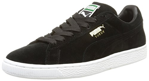 Puma Suede Classic Plus Zapatillas de Cuero, Unisex, Negro (Black/Team Gold/White), 40.5 EU (7 UK)