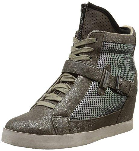 Les Tropeziennes Calista - Zapatillas de piel y sintético para mujer, color gris, talla 37