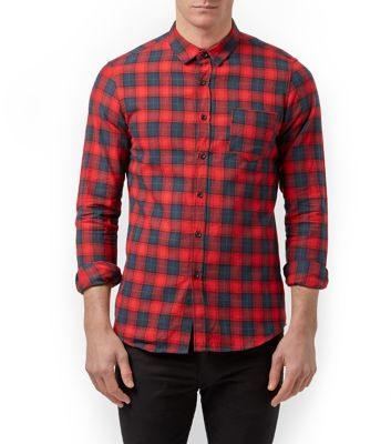 Navy and Red Long Sleeve Check Shirt