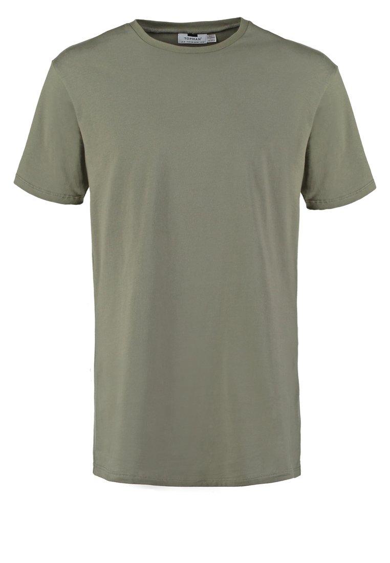 Topman SLIM FIT LONG LINE Camiseta básica khaki/olive
