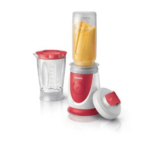 Philips HR2872/00 - Minibatidora Daily Collection 350 W, capacidad de la jarra 0,6l, botella portátil (0.6l), color rojo