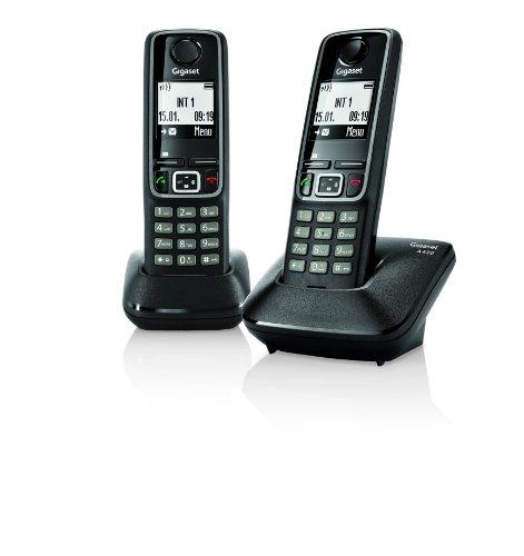 Gigaset A420 Negro Duo - Teléfono fijo digital (altavoces, manos Libres), Negro
