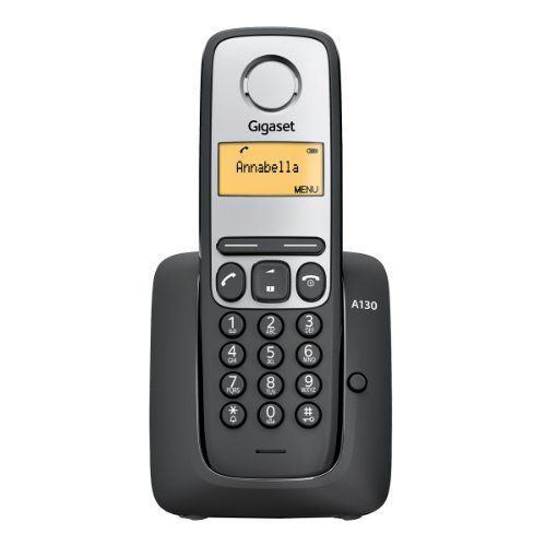 Gigaset A130 - Teléfono fijo inalámbrico con pantalla, color negro (importado)
