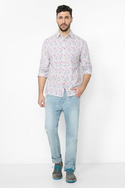 Desigual - Hombre - Camisa blanca a topos - Manoloion - Size M COTTON BLANCO