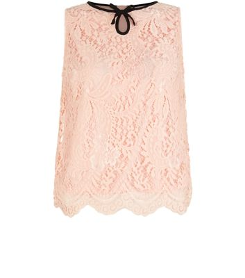 Teens Shell Pink Contrast Neckline Lace Scallop Hem Sleeveless Shell Top