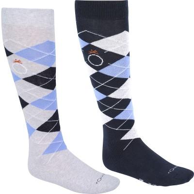Calcetines equitación niños y adulto ROMBOS gris jaspeado/azul claro x 2 pares FOUGANZA