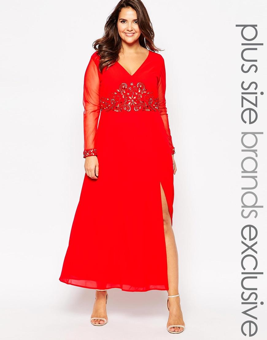 Vestido largo con escote pronunciado y puños adornados de Lovedrobe