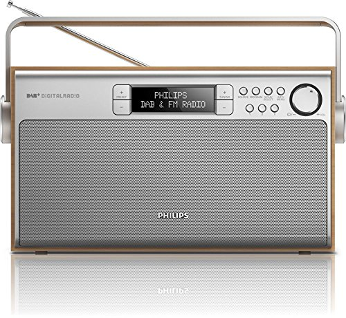 Philips AE5220/12 - Radio portátil DAB+ (6 W, pantalla LCD), marrón