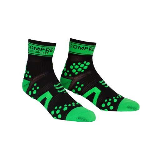 Compressport Pro Racing V2 Run Hi - Calcetines para hombre, color negro / verde, talla M
