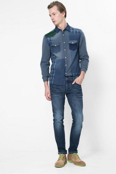 Desigual - Hombre - Jeans con print en el interior - Long Printed Check - Size 36