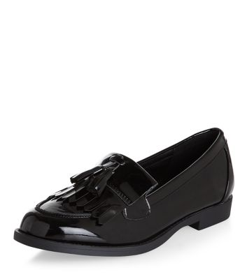 Black Patent Tassel Front Loafers