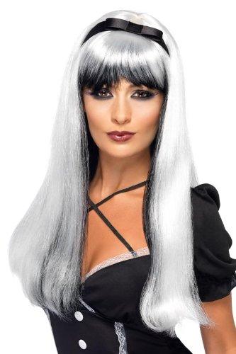 Genérico - 350168 - Blanco peluca Y Negro Con Negro Mujer Nudo