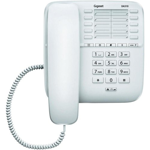 Gigaset DA510 - Teléfono fijo (manos libres, 10 tonos) color blanco