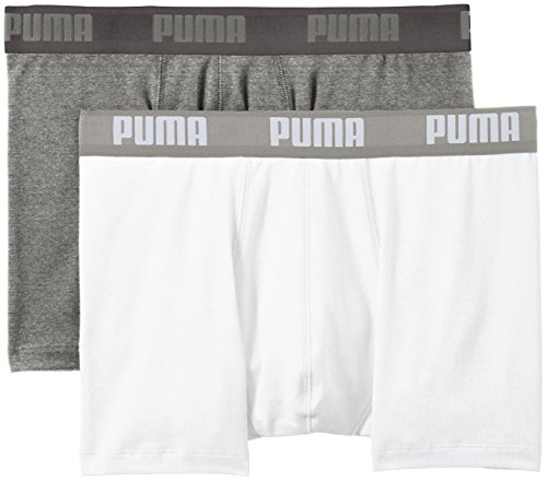 Puma Basic Boxer 2P - Calcetines para hombre, color gris, talla 27-30