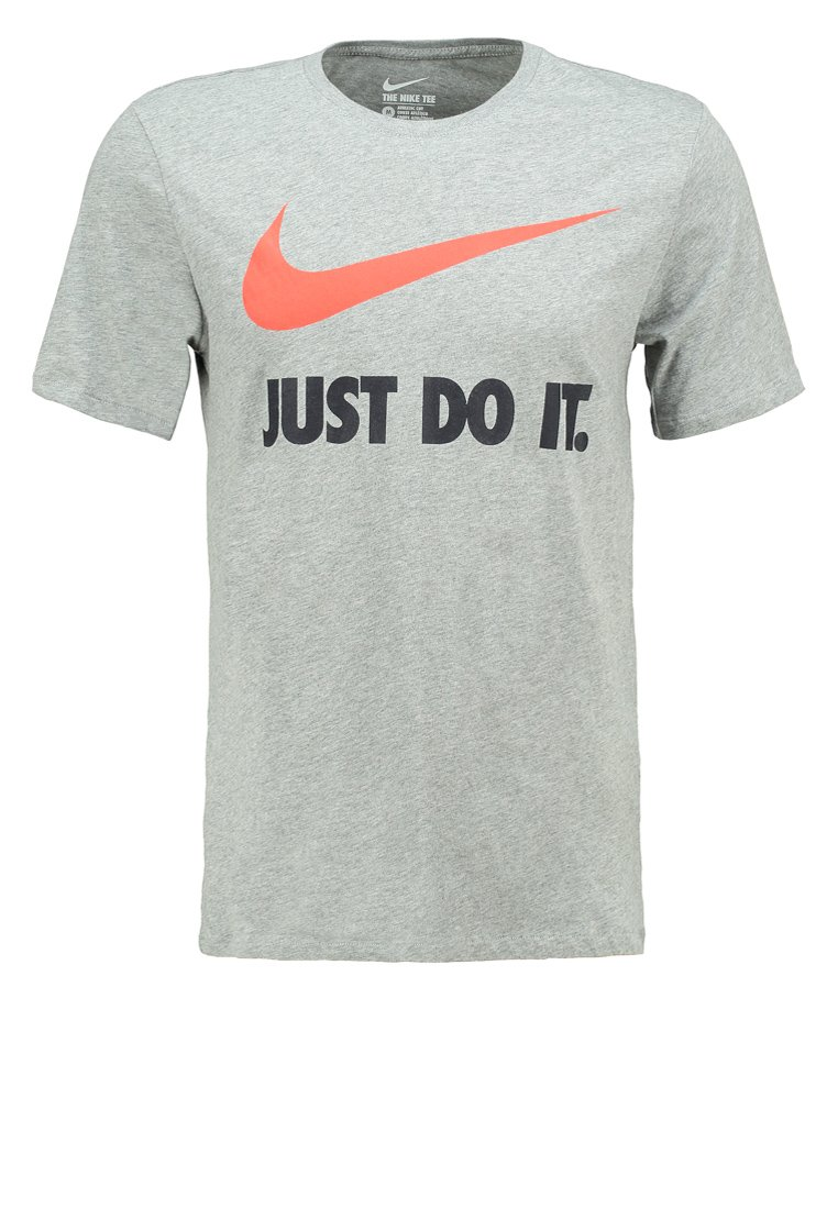 Nike Sportswear NEW SWOOSH Camiseta print dark grey heather/ team orange