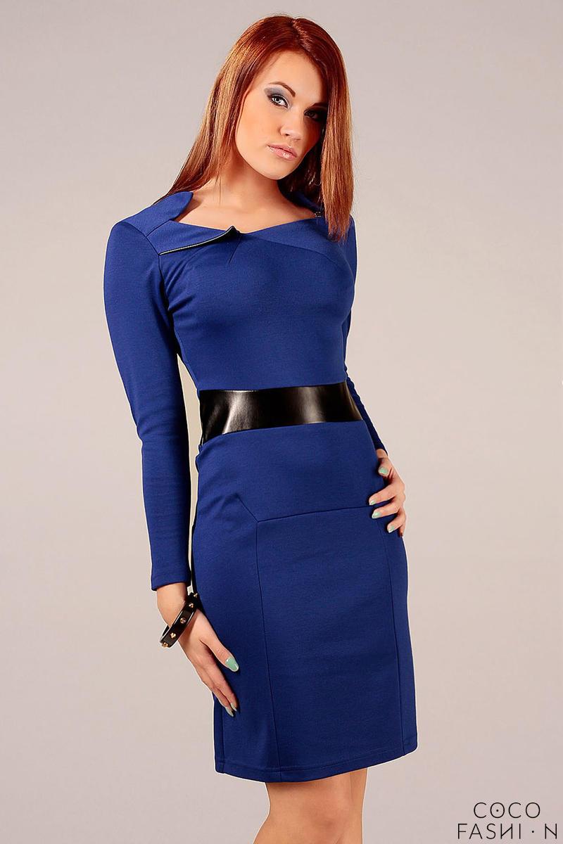 Navy Blue Elegant Dress with Leather Waist