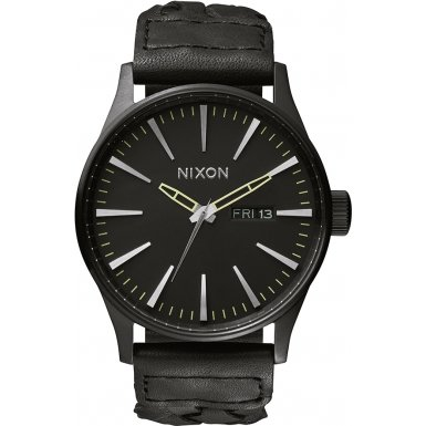 Nixon A1051928-00 - Reloj de pulsera hombre, Cuero, color Negro