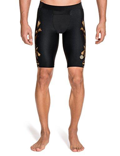 Skins A400 Mens 1/2 Tights - Pantalones de compresión de running para hombre, color dorado, talla 2XL